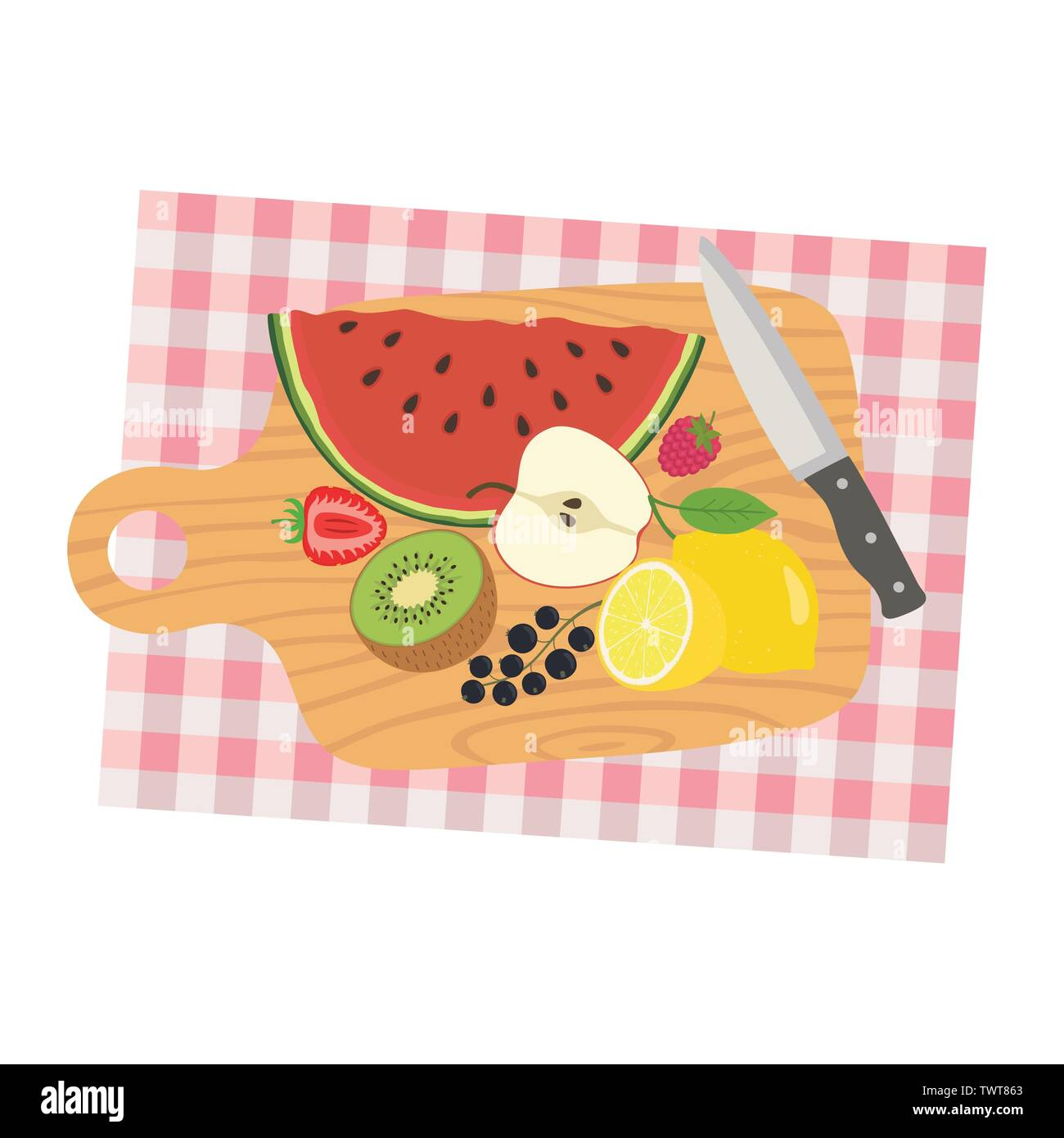 Picture of cooking desk with knife and sliced fruits. Fruit diet. Vector illustration. - Stock Image