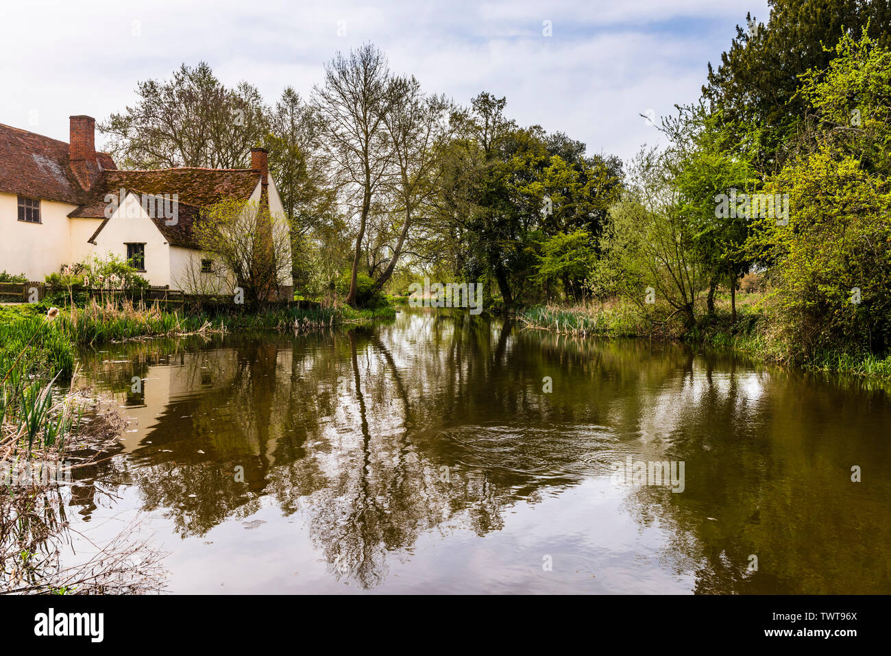 Facsimile of The Hay Wain at Flatford Mill, Suffolk, UK - Stock Image
