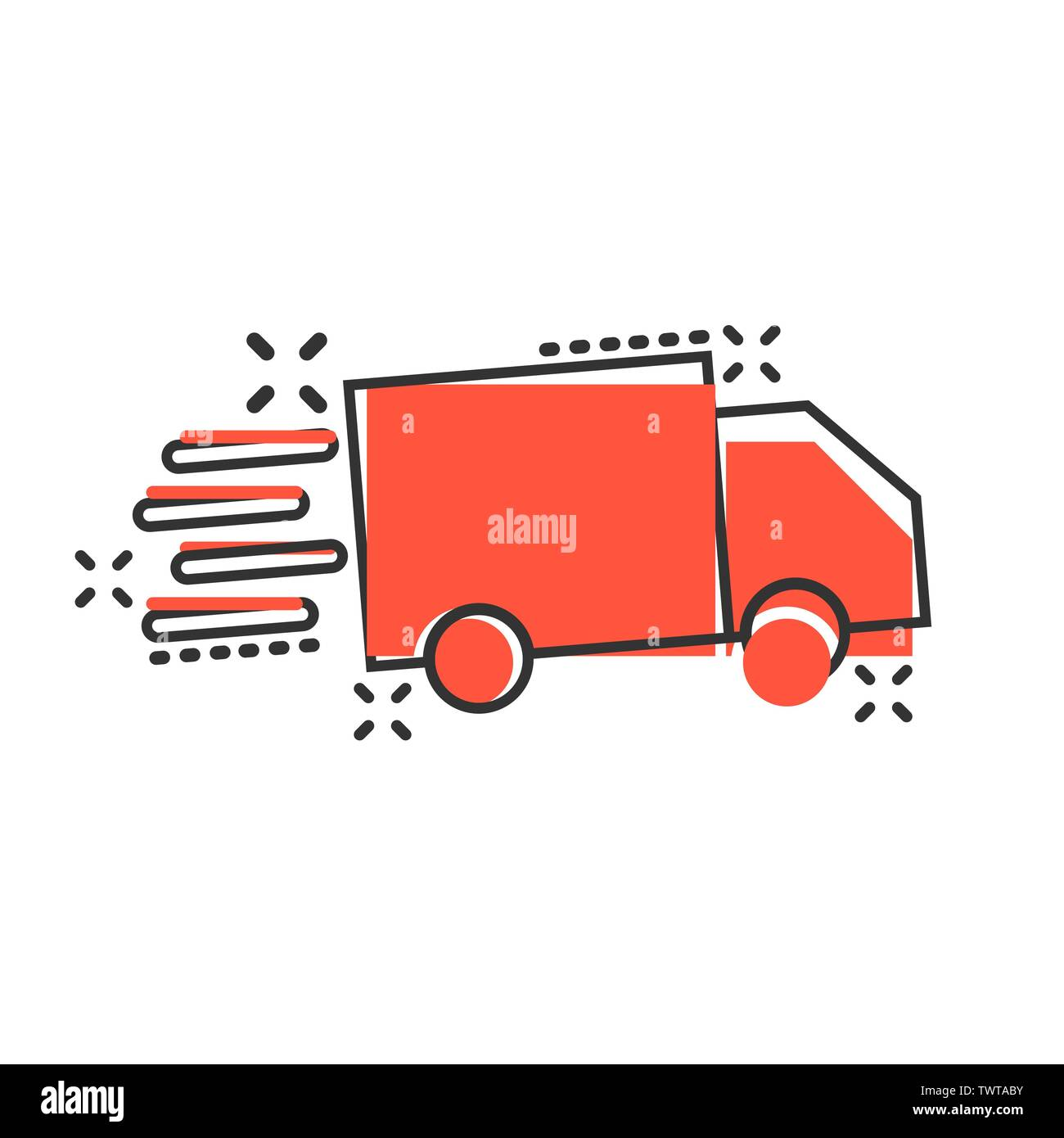 Delivery truck sign icon in comic style. Van vector cartoon illustration on white isolated background. Cargo car business concept splash effect. - Stock Image