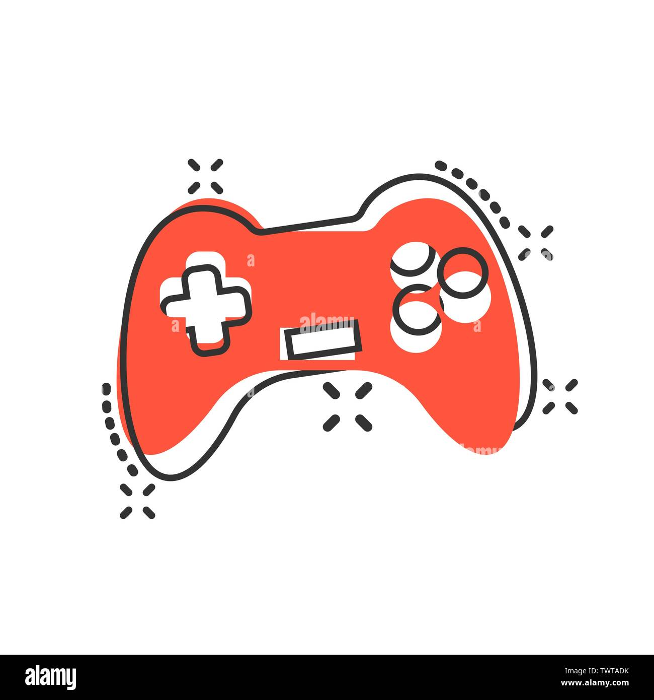 Joystick Sign Icon In Comic Style Gamepad Vector Cartoon Illustration On White Isolated Background Gaming Console Controller Business Concept Splash Stock Vector Image Art Alamy