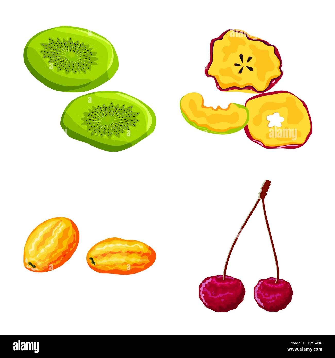 Vector design of fruit and dried  icon. Set of fruit and food  stock symbol for web. - Stock Image