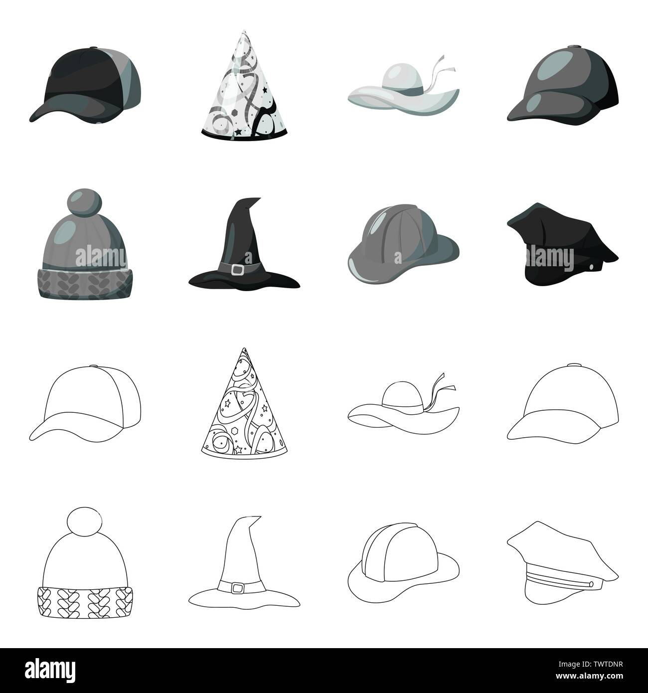 Isolated object of clothing and cap logo. Set of clothing and beret stock symbol for web. - Stock Vector