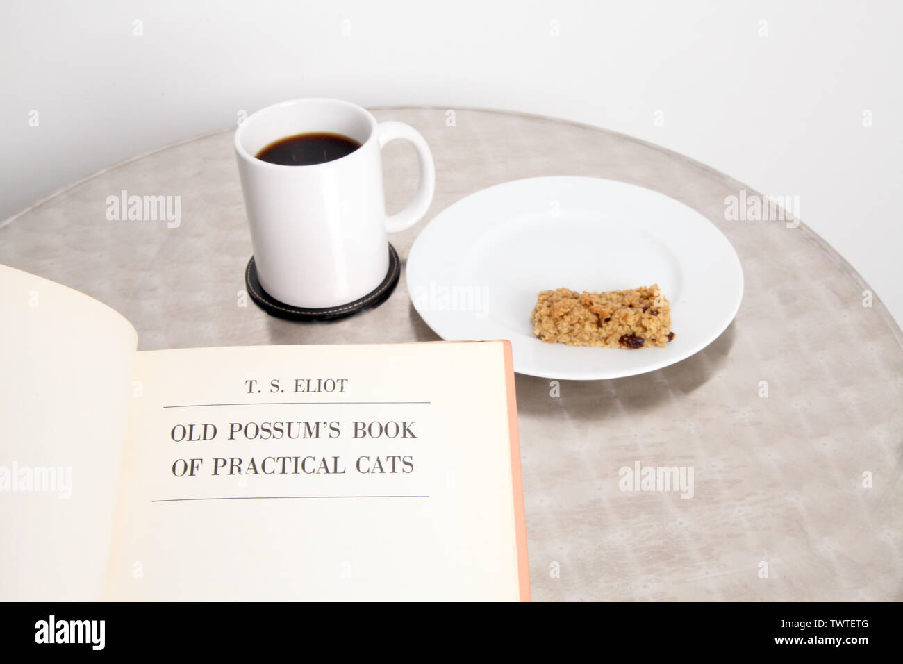 Old Possums Book of Practical Cats - A book of poems by T.S. Eliot being read at silver bistro table with coffee and cake - Stock Image