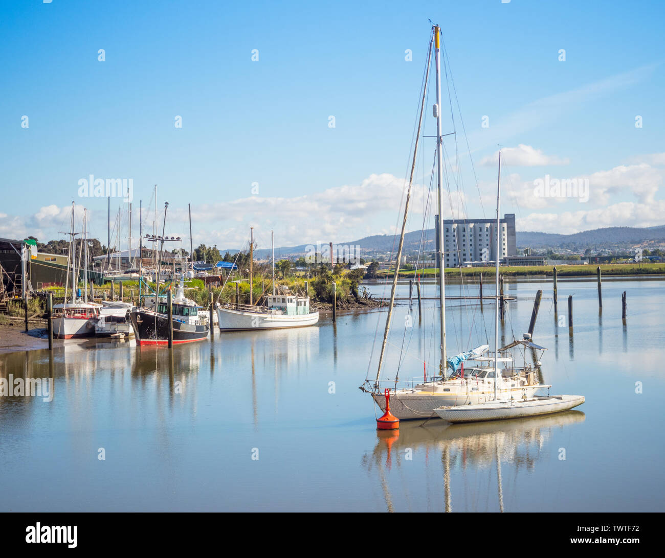 Boats and yachts moored in the Tamar River in Launceston, in Tasmania, Australia. Stock Photo