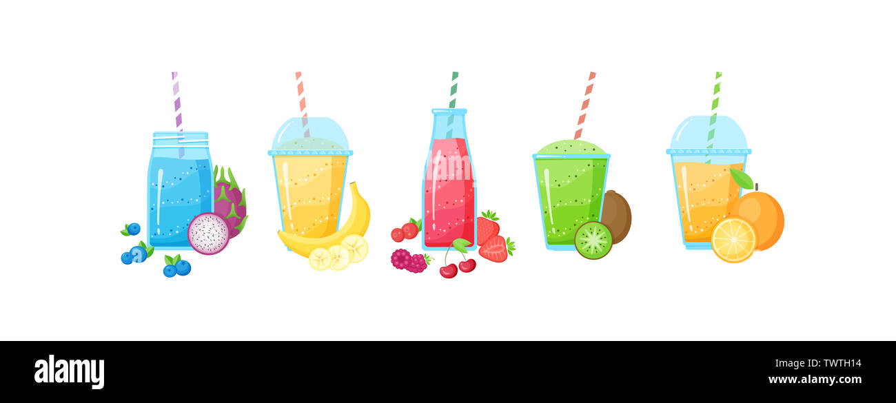 Fresh fruit smoothie shake cocktail set illustration. Isolated on white background collection of glass with layers of sweet vitamin juice cocktail with fruits for smoothies summer menu - Stock Image