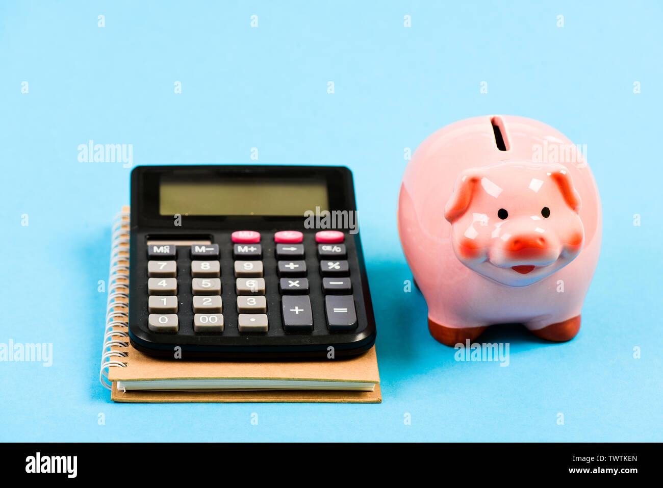 saving money. First salary. bookkeeping. financial report. family budget management. business start up. piggy bank with calculator. Moneybox. Poor life. - Stock Image
