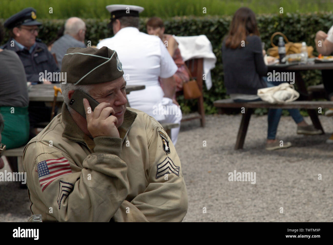 300999fb1d2f0 A WW2 reenactment of a US Army Sergeant of 101st Airborne in Ike Jacket and  garrison