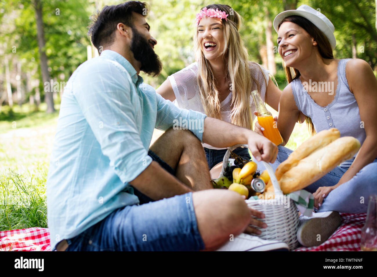 Summer, vacation, music and recreation time concept. Group of friends have picnic outdoor. - Stock Image