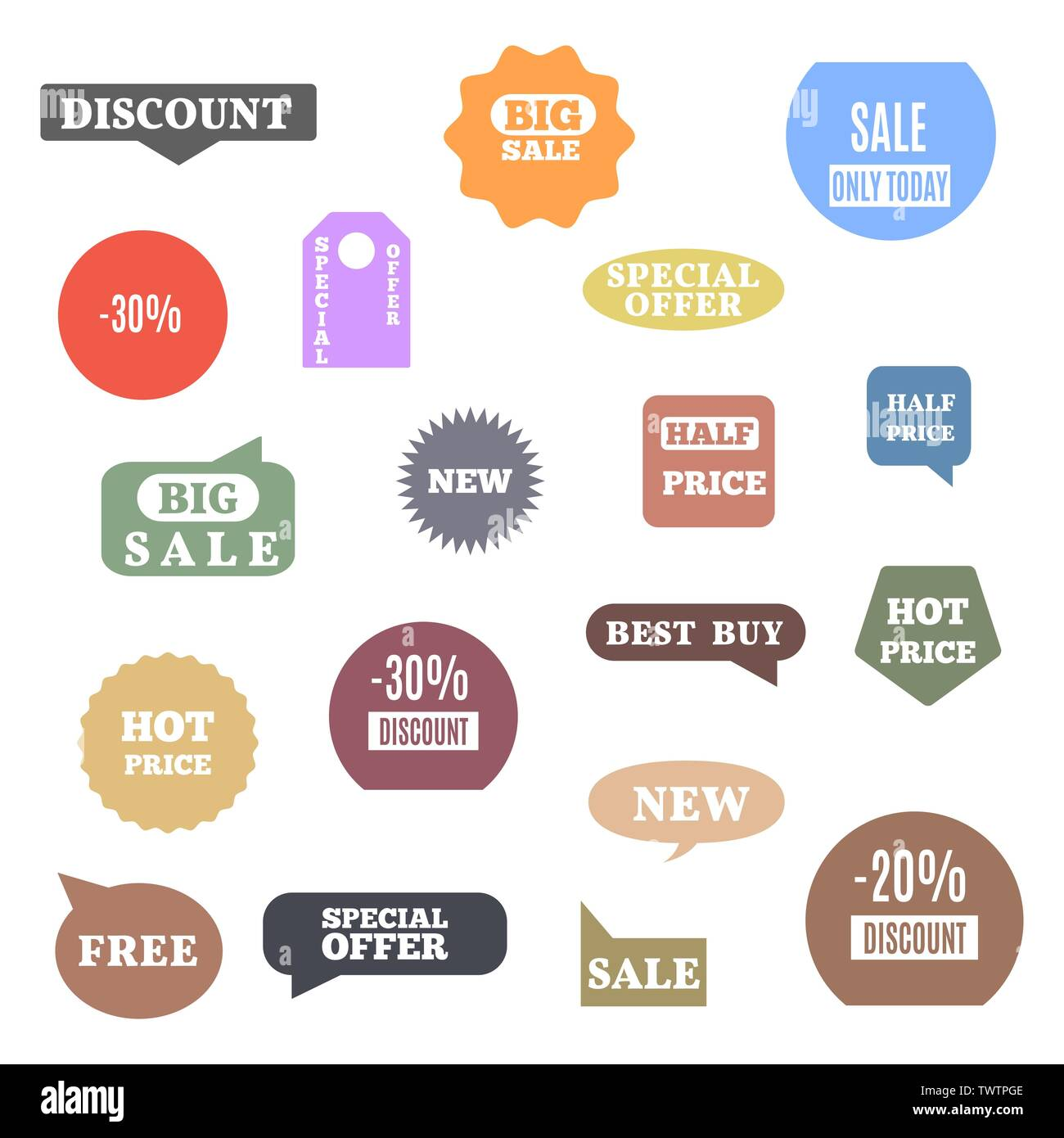 Premium quality labels for shopping, e-commerce, product, social media stickers and marketing. Flat style, vector illustration. - Stock Image