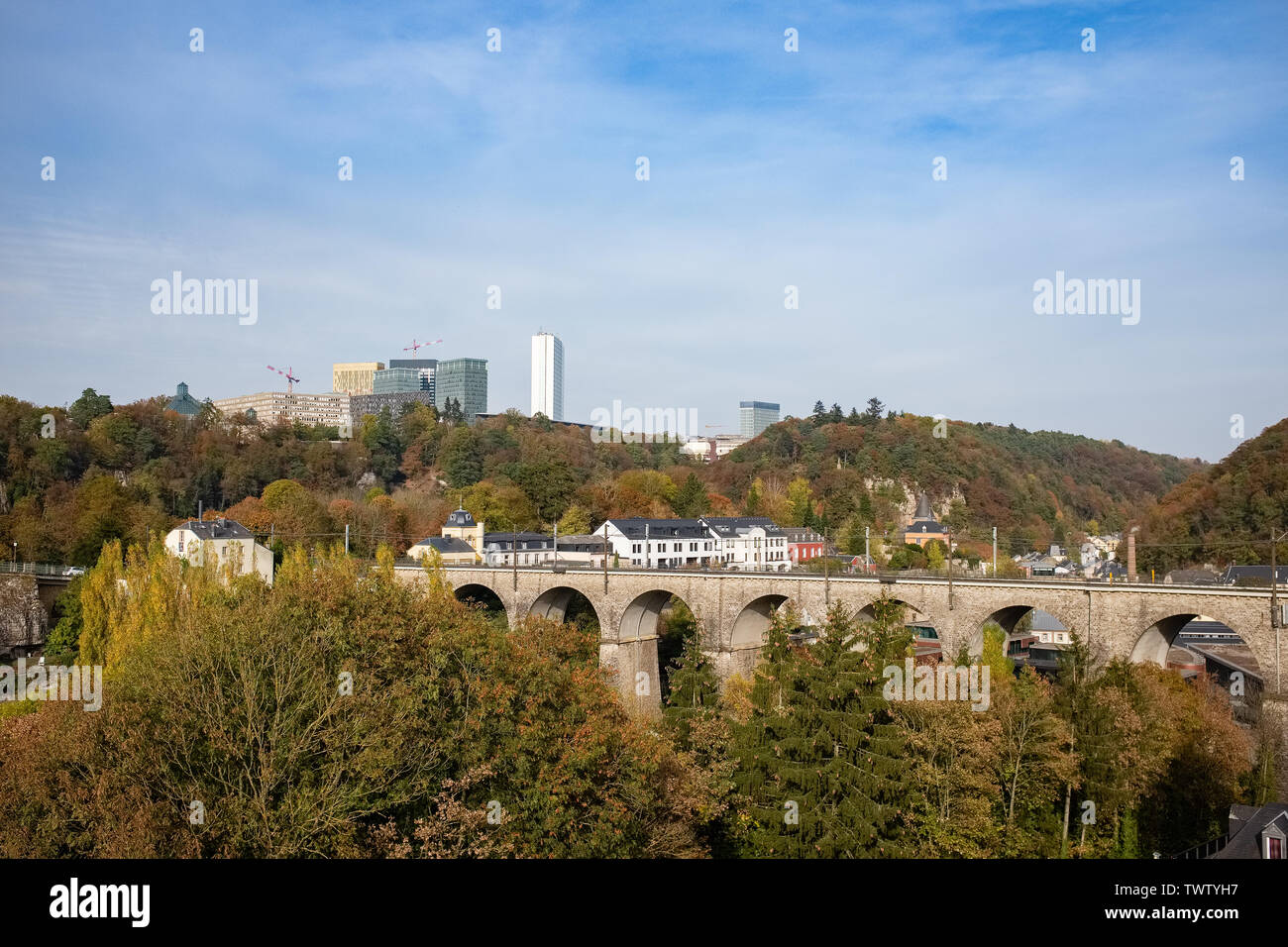 Wonderful view of Luxembourg City with Kirchberg district in the background - Stock Image