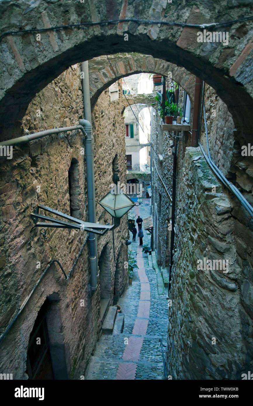 Medieval alley at the village Dolceacqua, province Imperia, Riviera di Ponente, Liguria, Italy Stock Photo