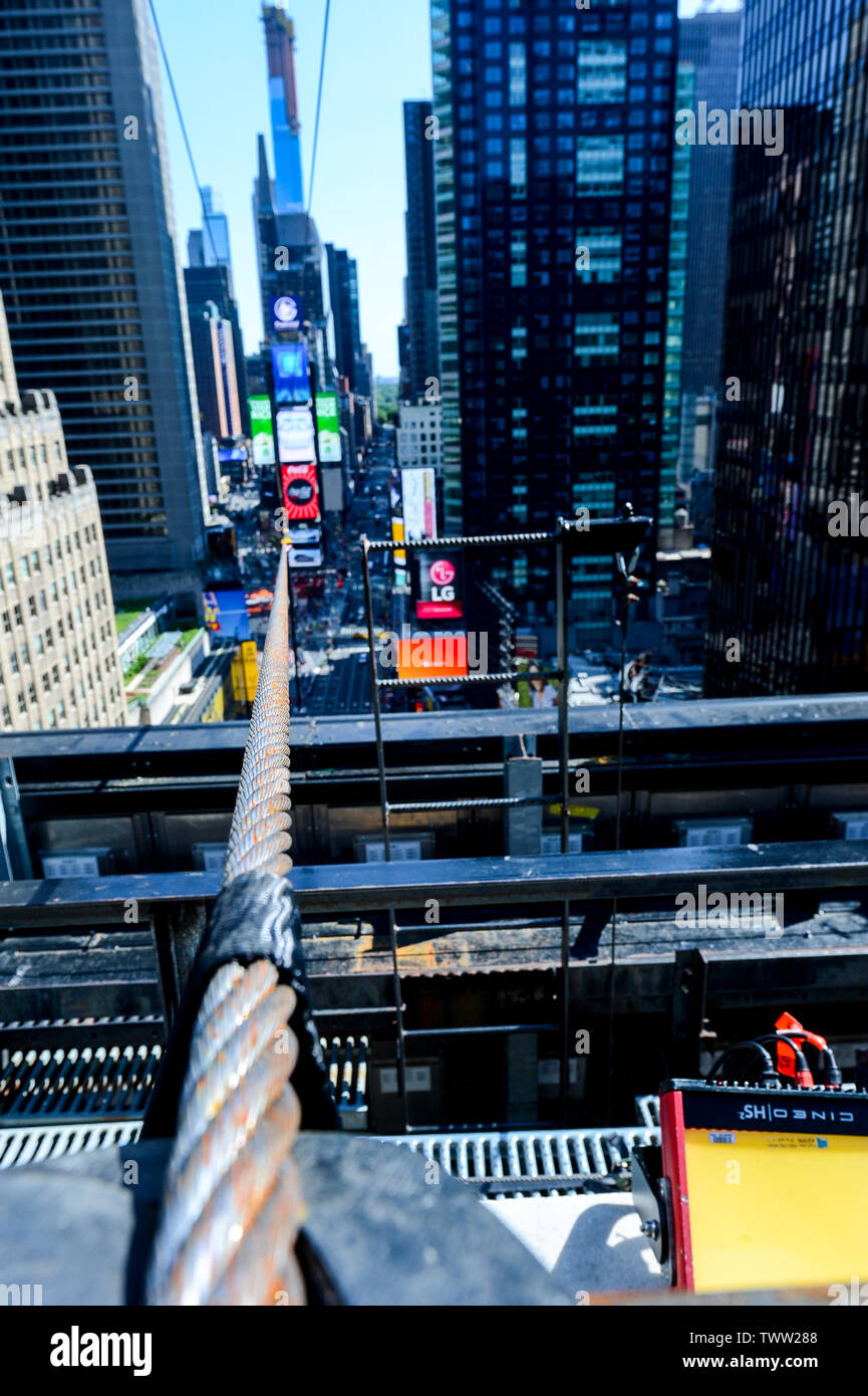New York, USA. 22nd June, 2019. A close up look at the high wire Nik and Lijana Wallenda will walk across tonight, live on ABC at 8pm. Credit: Tim Boyles/Alamy Live News Stock Photo