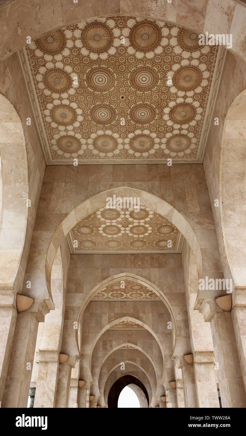 Ornated Ceiling Decoration in the Hassan II Mosque in Casablanca, Morocco Stock Photo