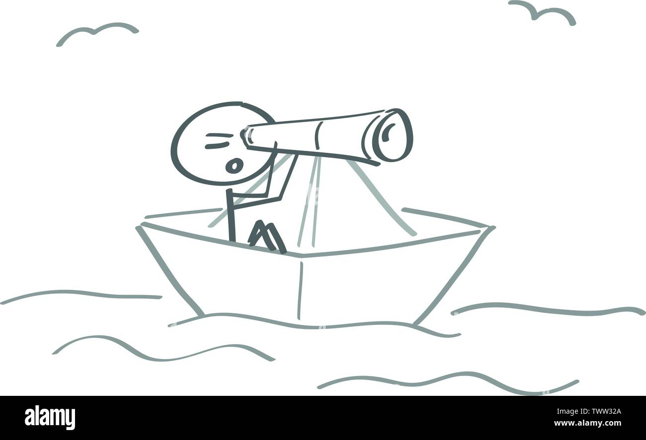 shipwreck distress stranded ship paper ship binoculars - Stock Vector