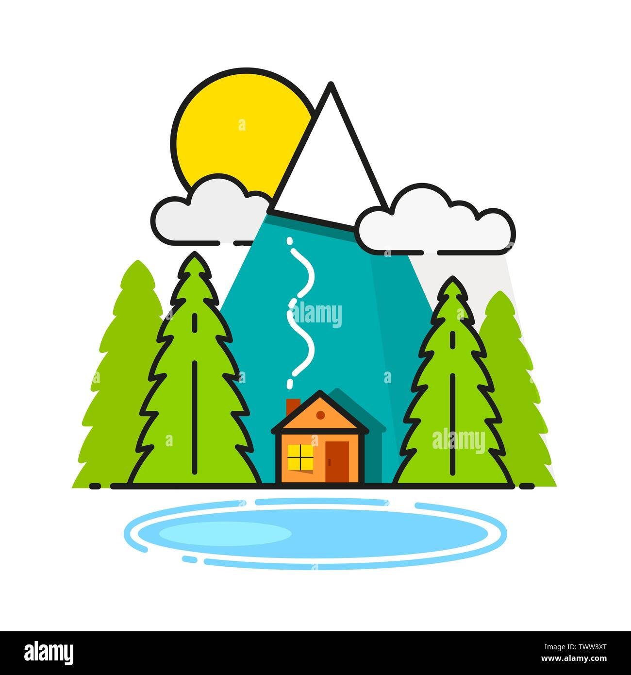 Log Cabin In The Woods Vector Icon Ready For Your Design, Greeting Card, Banner - Stock Vector