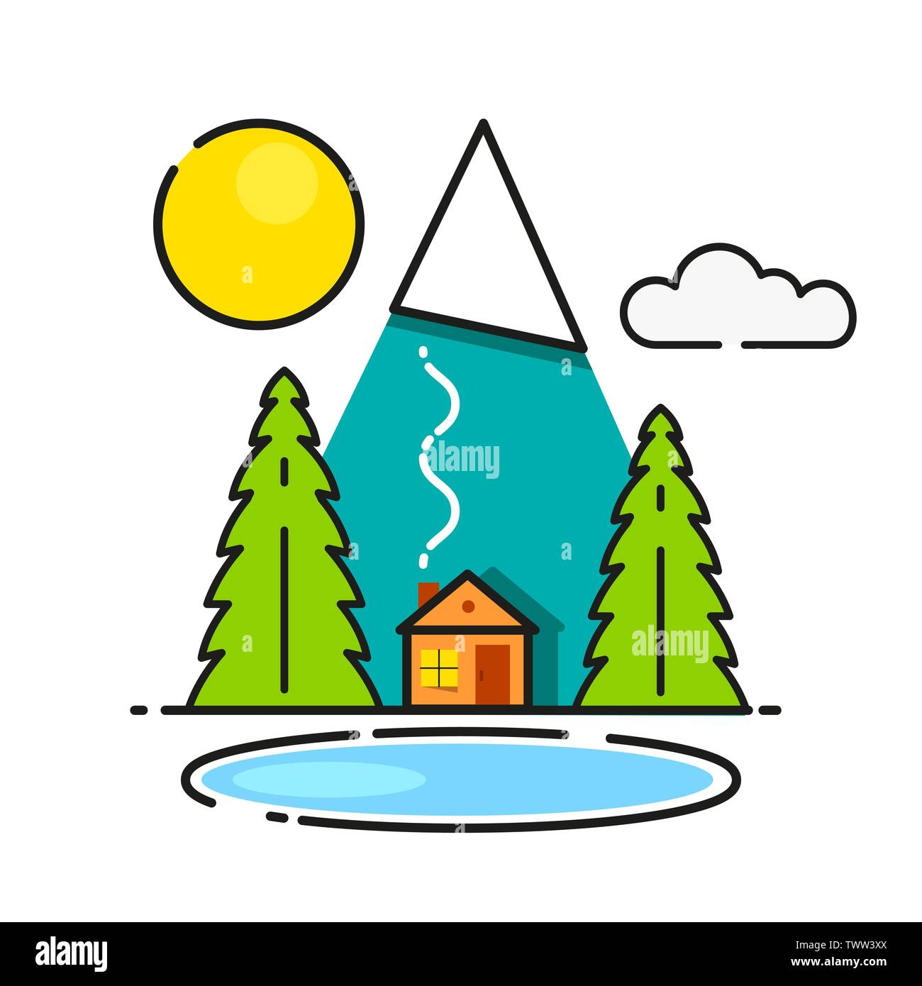 Log Cabin In The Woods Vector Icon Ready For Your Design, Greeting Card - Stock Vector