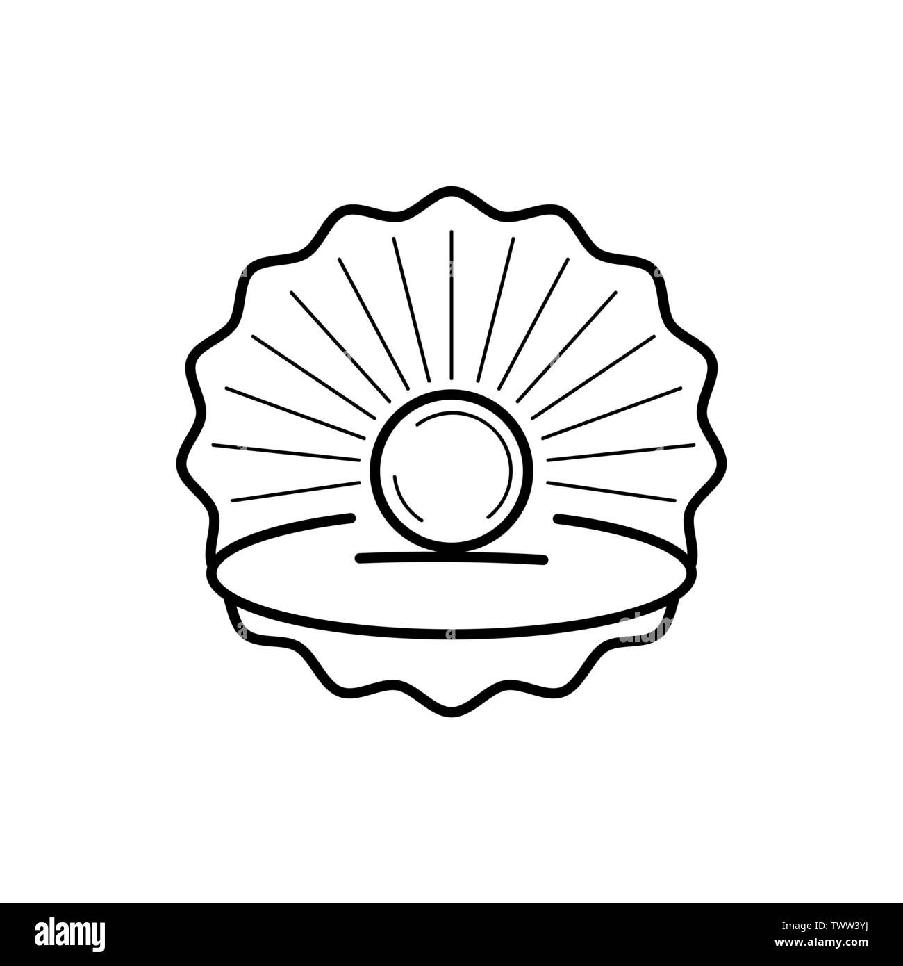 Seashell With Pearl Outline Icon Ready For Your Design, Greeting Card - Stock Image