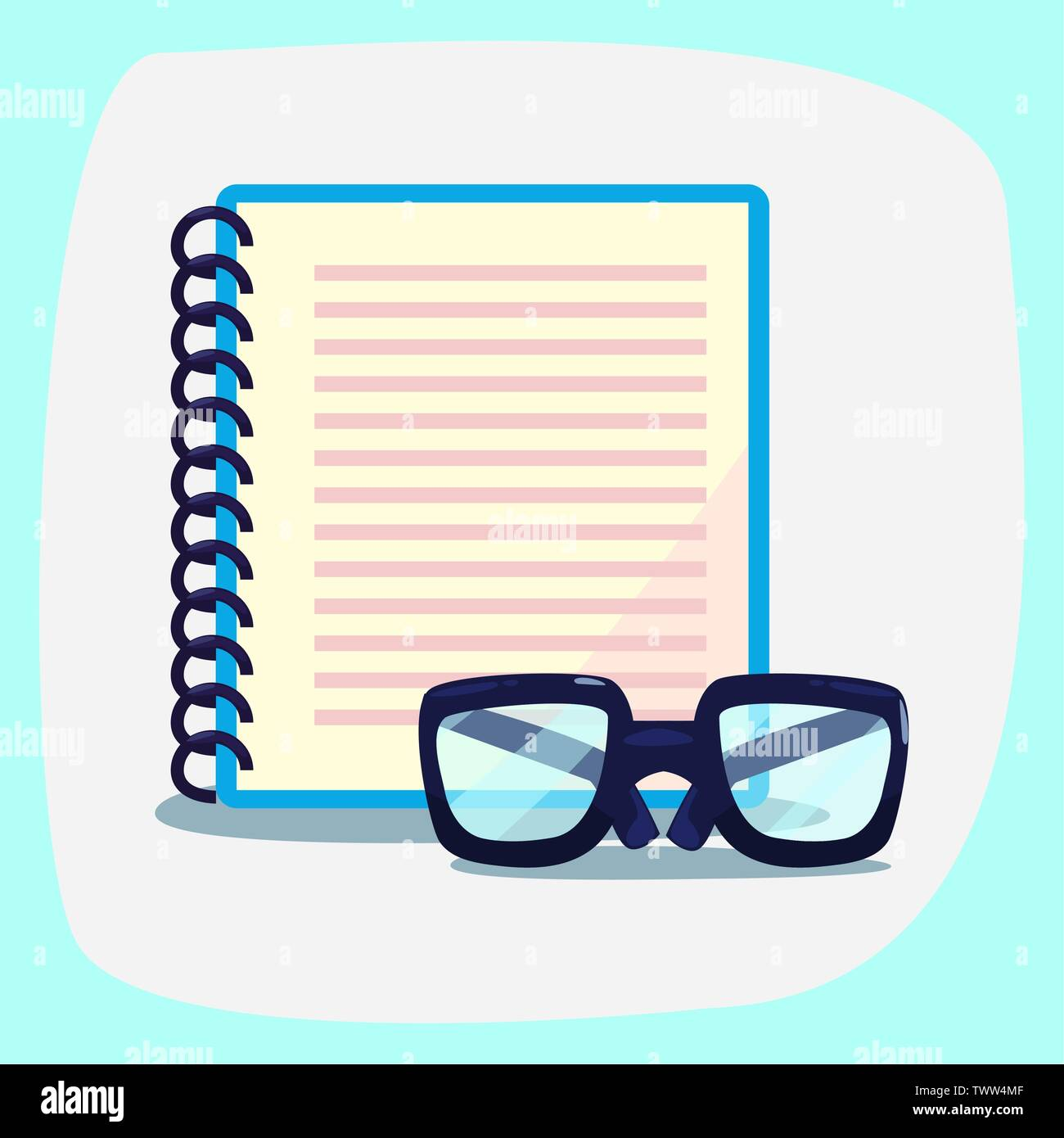 back to school supplies notebook and glasses vector illustration Stock Vector