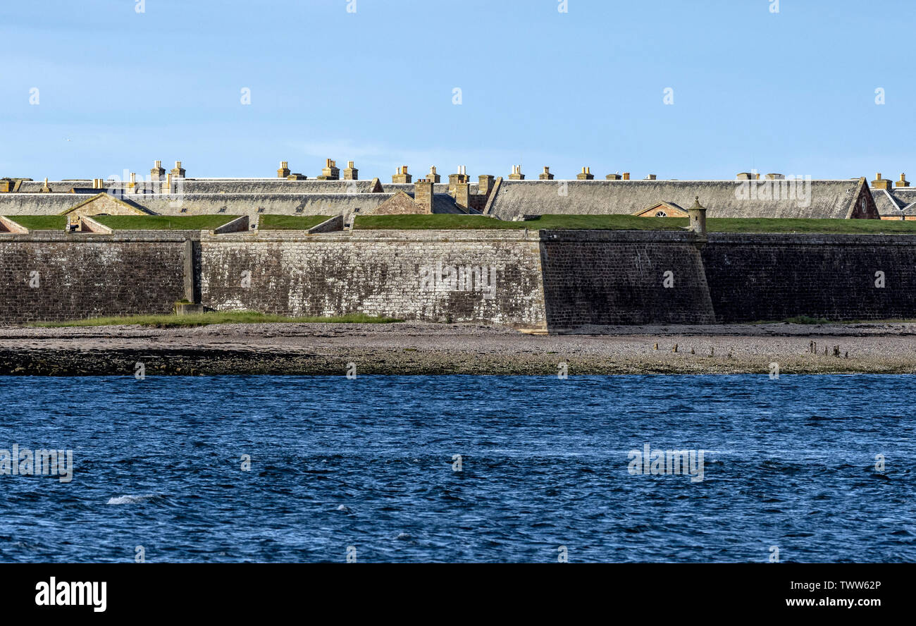 A long distance shot of Fort George, Moray,  from Chanonry Point, Fortrose, Black Isle, Ross and Cromarty, Scotland, United Kingdom. - Stock Image