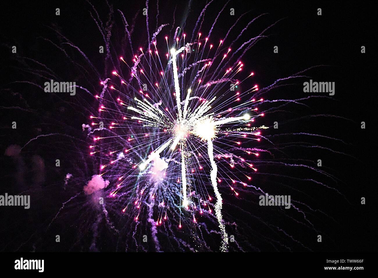Firework celebrations in the night sky Stock Photo