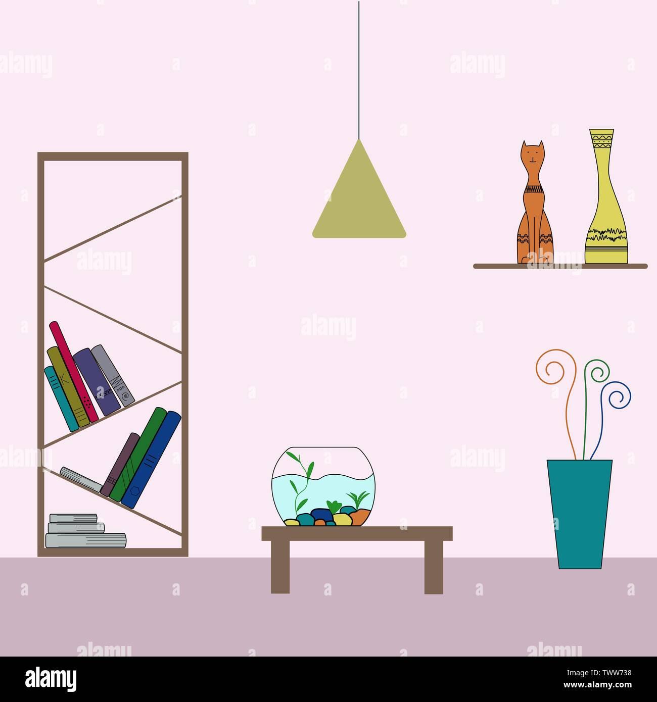 Home decoration colorful execution. Shelf, books, figurine, cat, moneybox, aquarium, flower, cactus, flowerpot, book shelf, table, lamp. Vector flat i - Stock Image