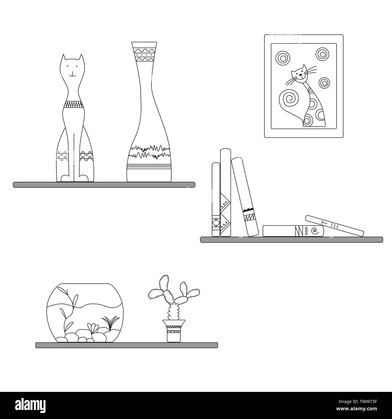 Home decoration black-and-white execution. Shelf, books, figurine, cat, moneybox, aquarium, flower, cactus, flowerpot, book shelf. Vector illustration - Stock Image