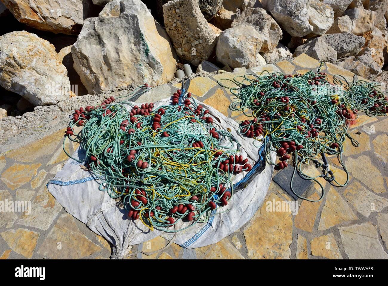 Fishing ropes and floats,Kassiopi bay,Kassopaia,Ionian Islands, Corfu ,Greece Stock Photo