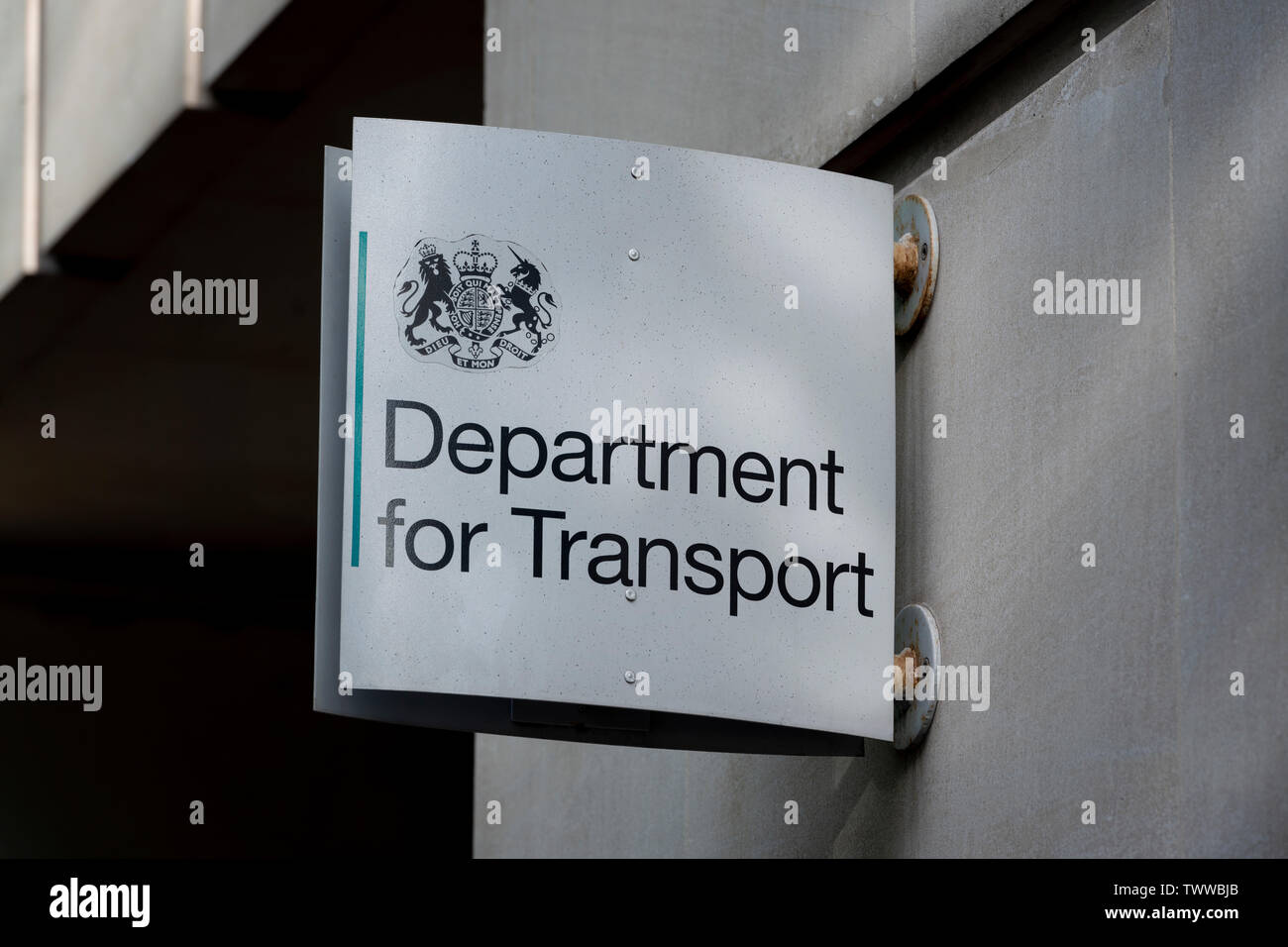 Signage for the Department for the Department for Transport building located on Horseferry Road in London, UK. Stock Photo