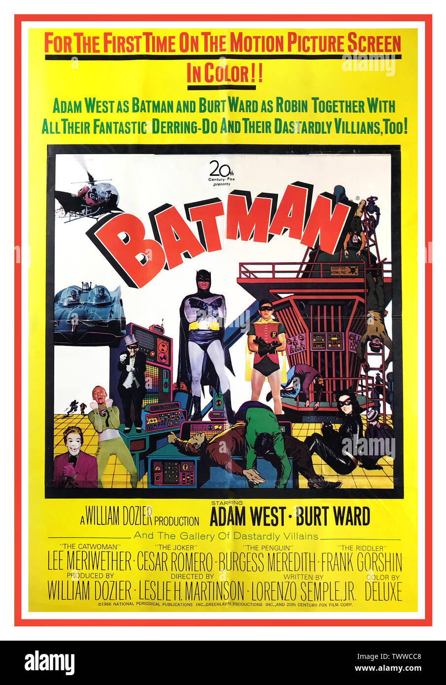 batman 1966 original vintage adam west movie theater poster starring adam west as batman burt ward as robin lee meriwether director leslie martinson writers lorenzo semple jr and bob kane bob kane and bill fingers dc ics ic book superhero batman for the first time on the motion picture screen in color adam west as batman and burt ward as robin to her with all their fantastic derring do and their dastardly villains too TWWCC8