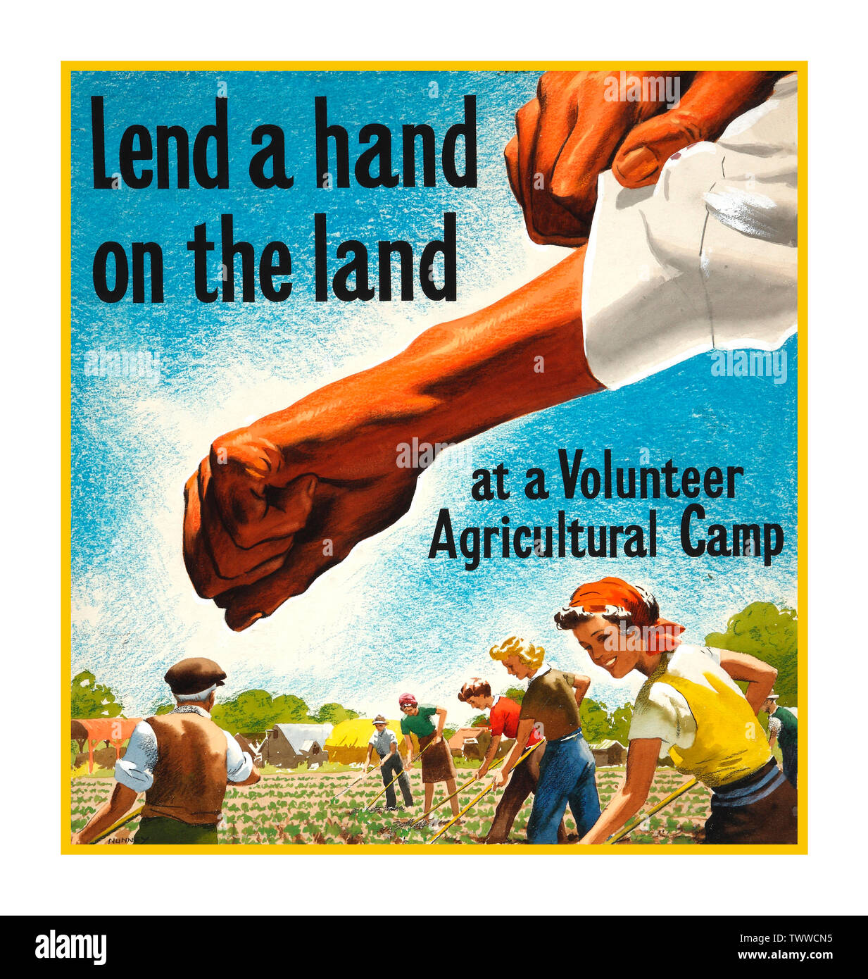 """Vintage WW2 wartime food production harvest Propaganda Appeal Poster UK """"Lend a hand on the land at a Volunteer Agricultural Camp"""" 1940's wartime Second World War food production poster by John Nunney World War II - Stock Image"""