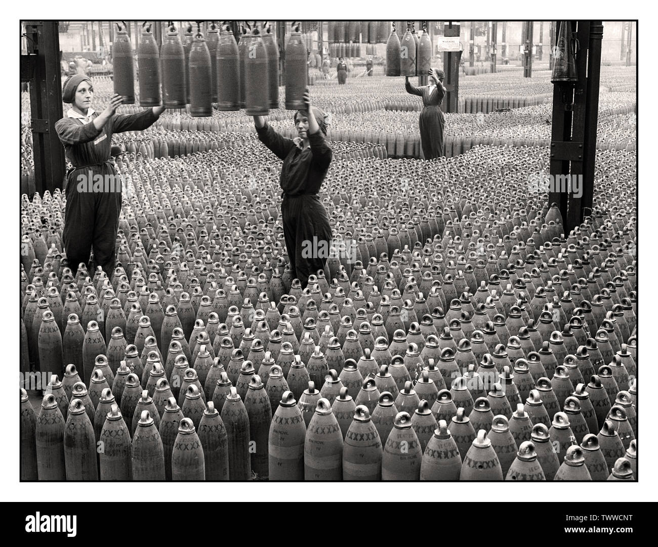 Vintage 1915 World War 1 Information Propaganda image of the Chilwell munitions filling factory, Britain WW1 More than 19 million shells were filled with explosives here by 10,000 workers between 1915-1918, during World War 1. The factory filled 50% of all British shells during the Great First World War. - Stock Image