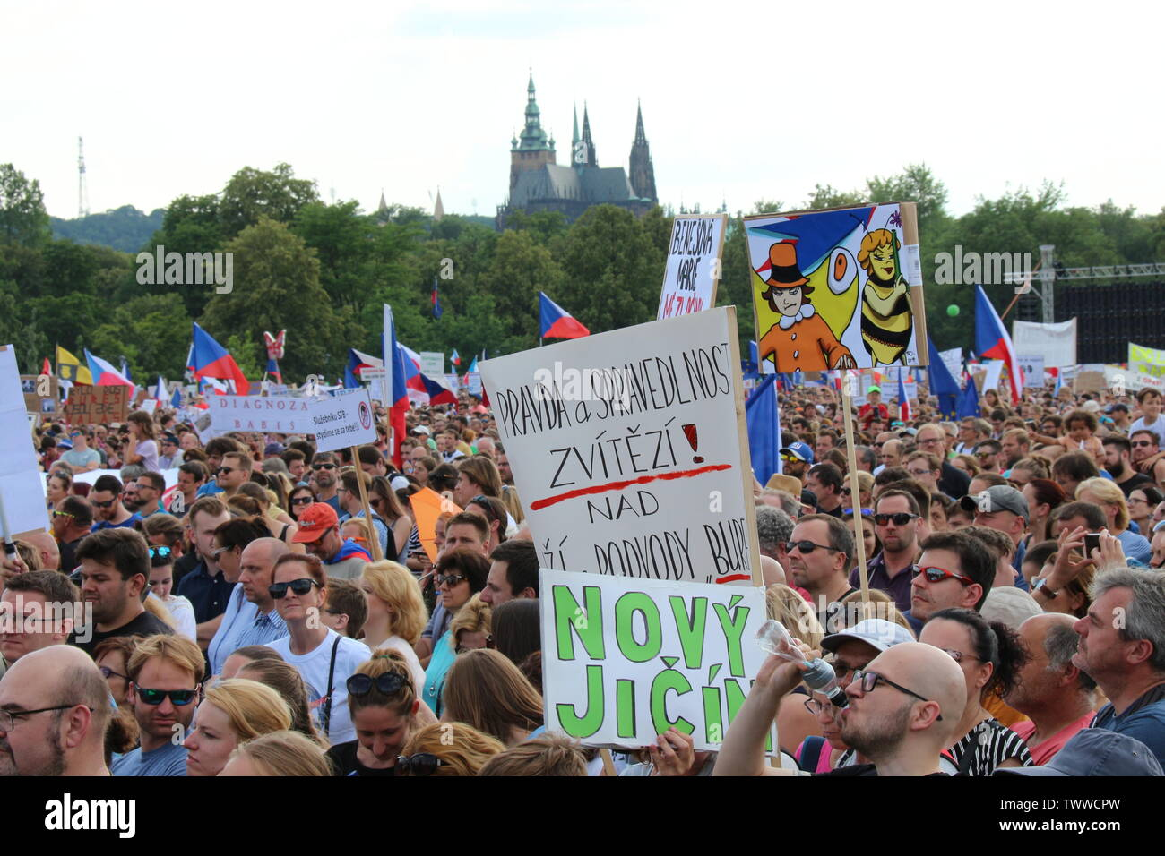 Prague, Czech Republic, 23rd Jun 2019. More than 250,000 demonstrators flooded Letna with billboards requiring the resignation of Andrei Babis. They a - Stock Image