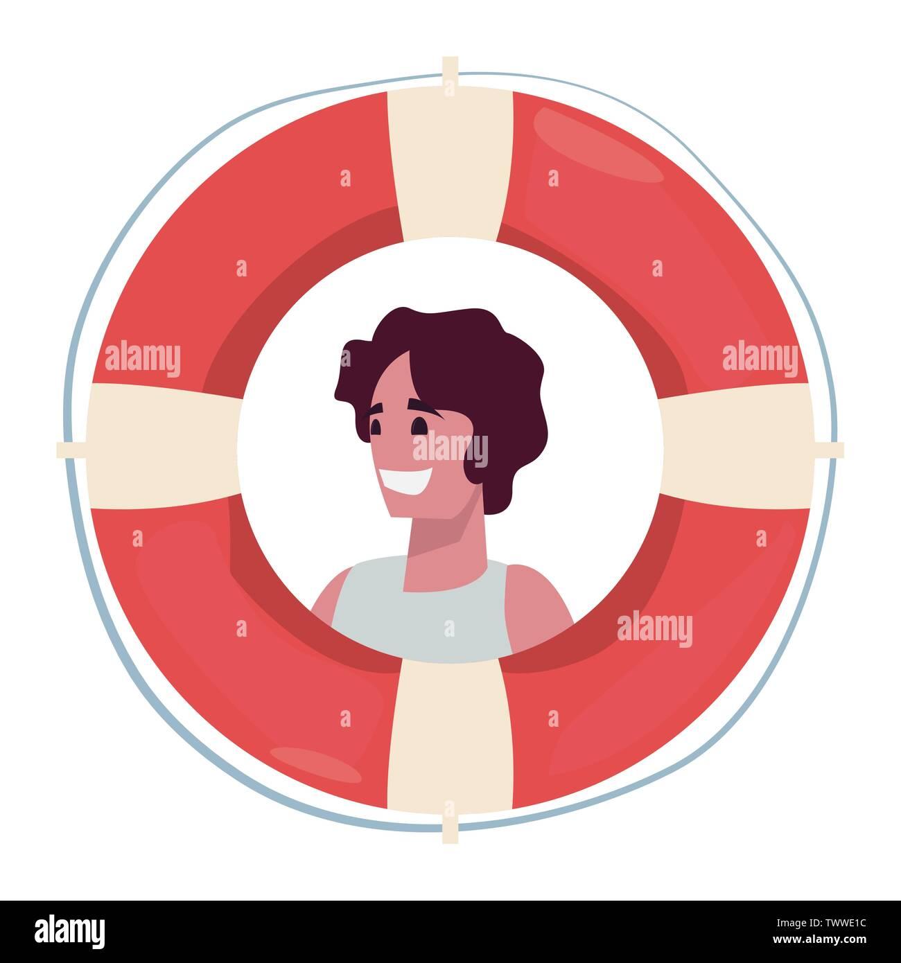 summer time holiday woman lifebuoy vector illustration - Stock Vector