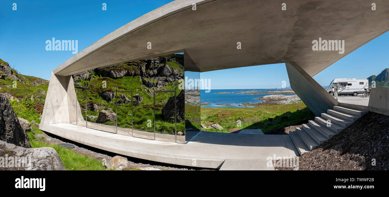 Bukkekjerka rest area, Norwegian Scenic Route Andøya, Vesteralen, Norway designed by architect Morfeus Arkitekter. - Stock Image