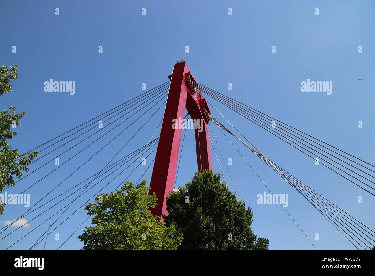 Red colored Willemsbrug over river Nieuwe Maas in Rotterdam, the Netherlands Stock Photo