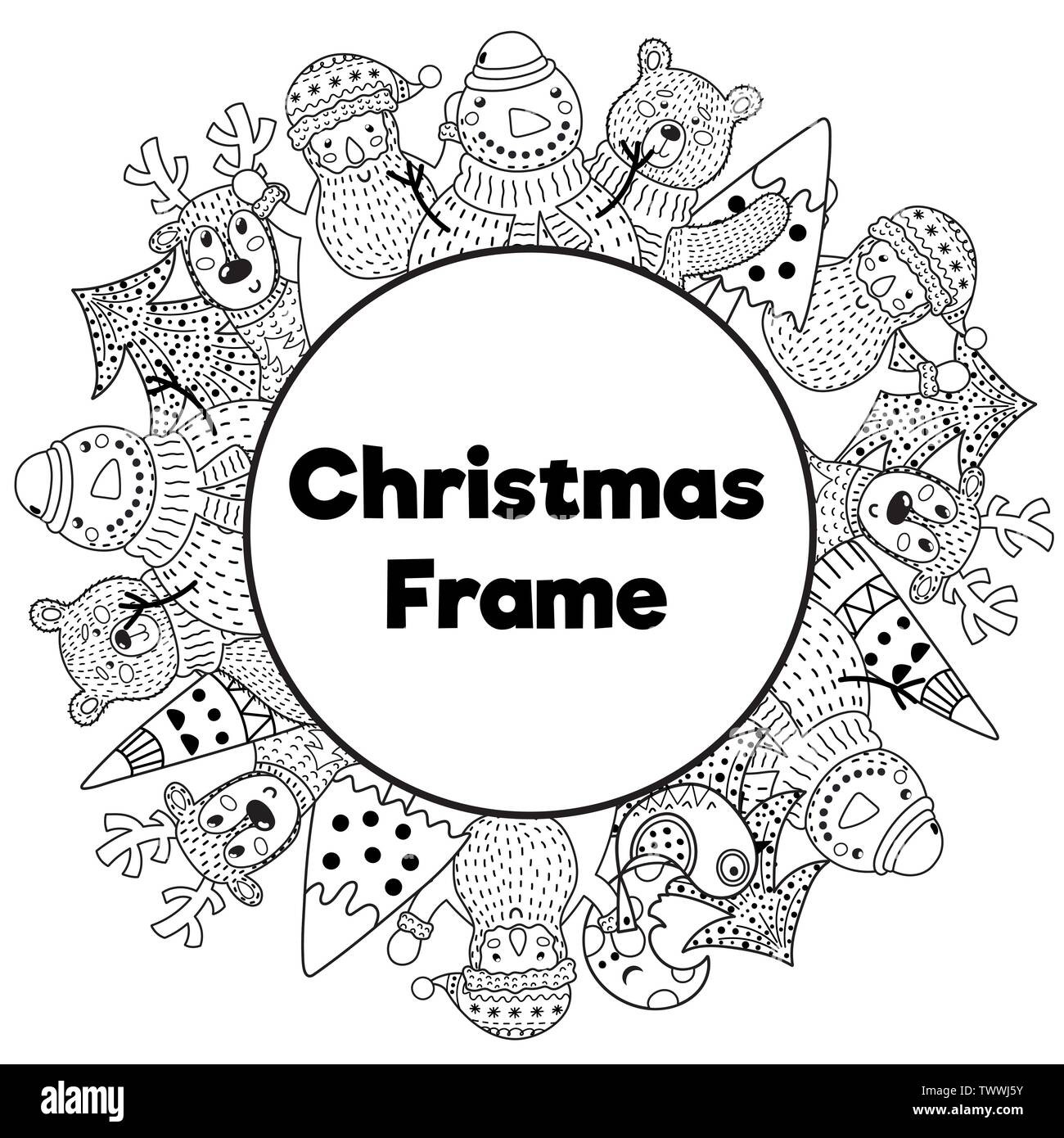 Black and white Christmas frame in coloring page style. Place for your text. Snowman, Santa, deer, bear and Christmas tree. Vector illustration Stock Vector