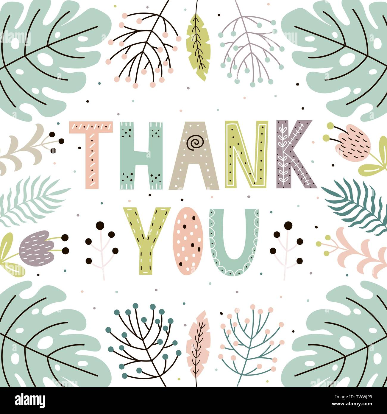 Thank you cute card with hand drawn leaves and plants. Floral background with hand lettering. Vector illustration - Stock Vector