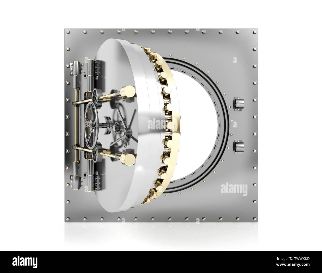 Opened bank vault door with empty white background for mock up, 3D Rendering - Stock Image