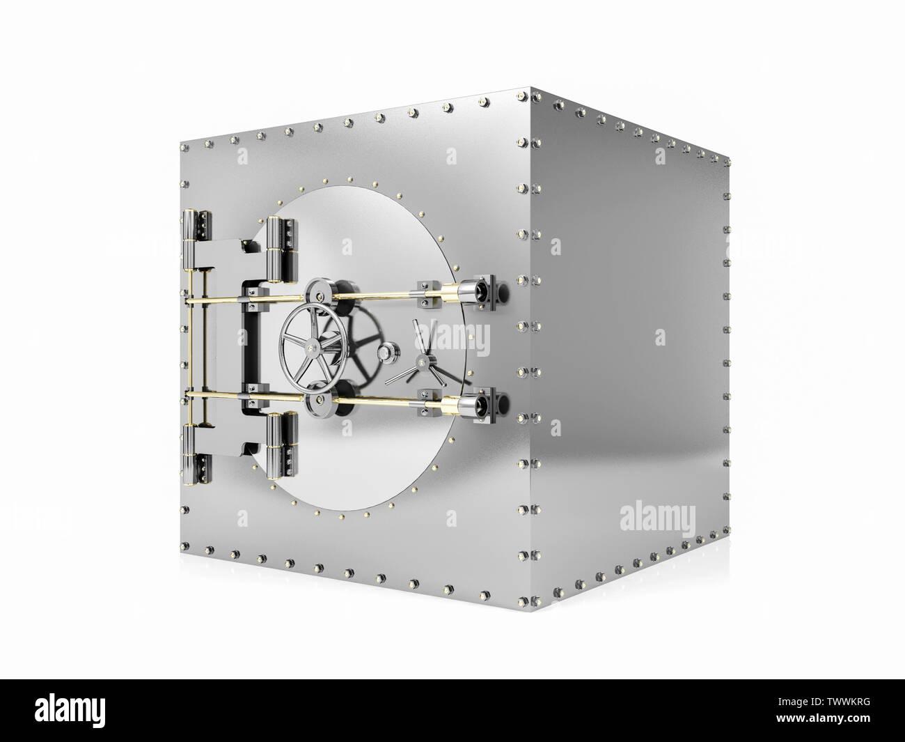 Bank safe deposit box and closed bank vault door, 3D Rendering - Stock Image