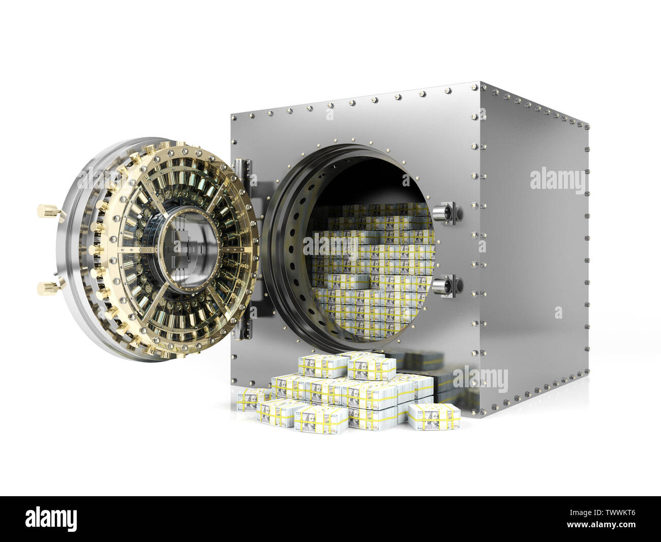 Bank safe deposit box and opened bank vault door revealing dollar banknote stacks, 3D Rendering - Stock Image