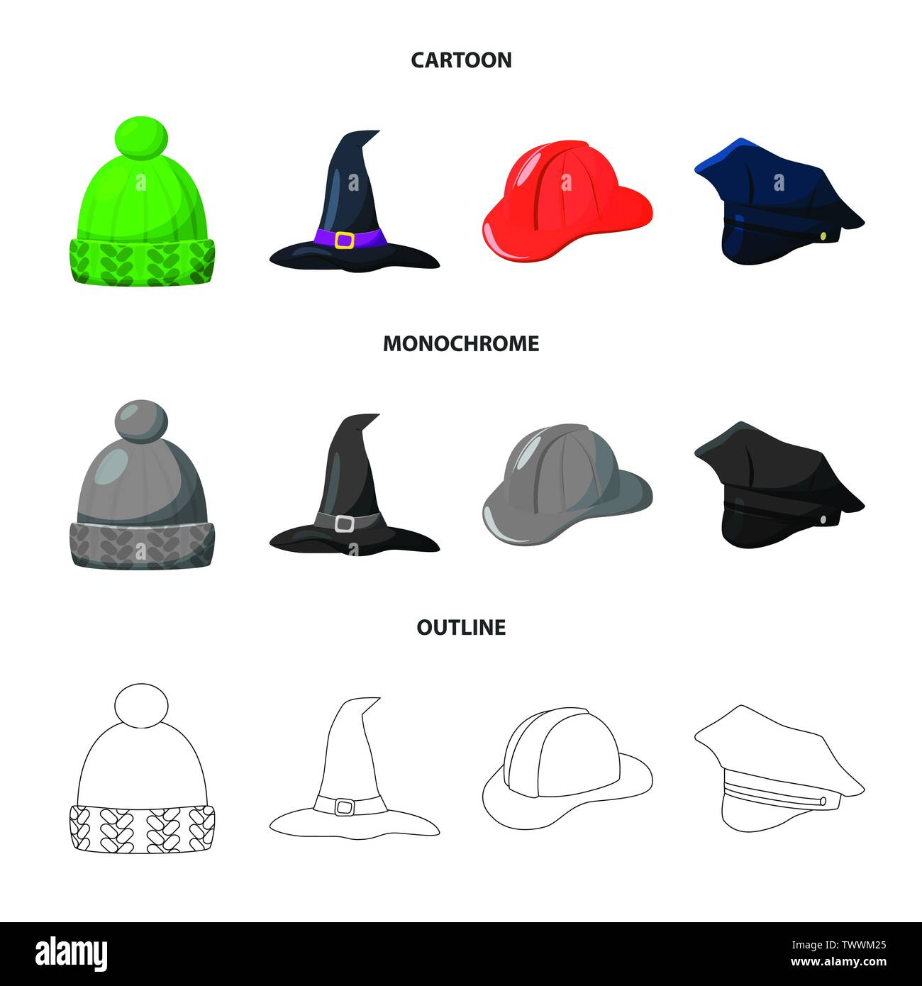 Isolated object of clothing and cap icon. Set of clothing and beret vector icon for stock. - Stock Vector