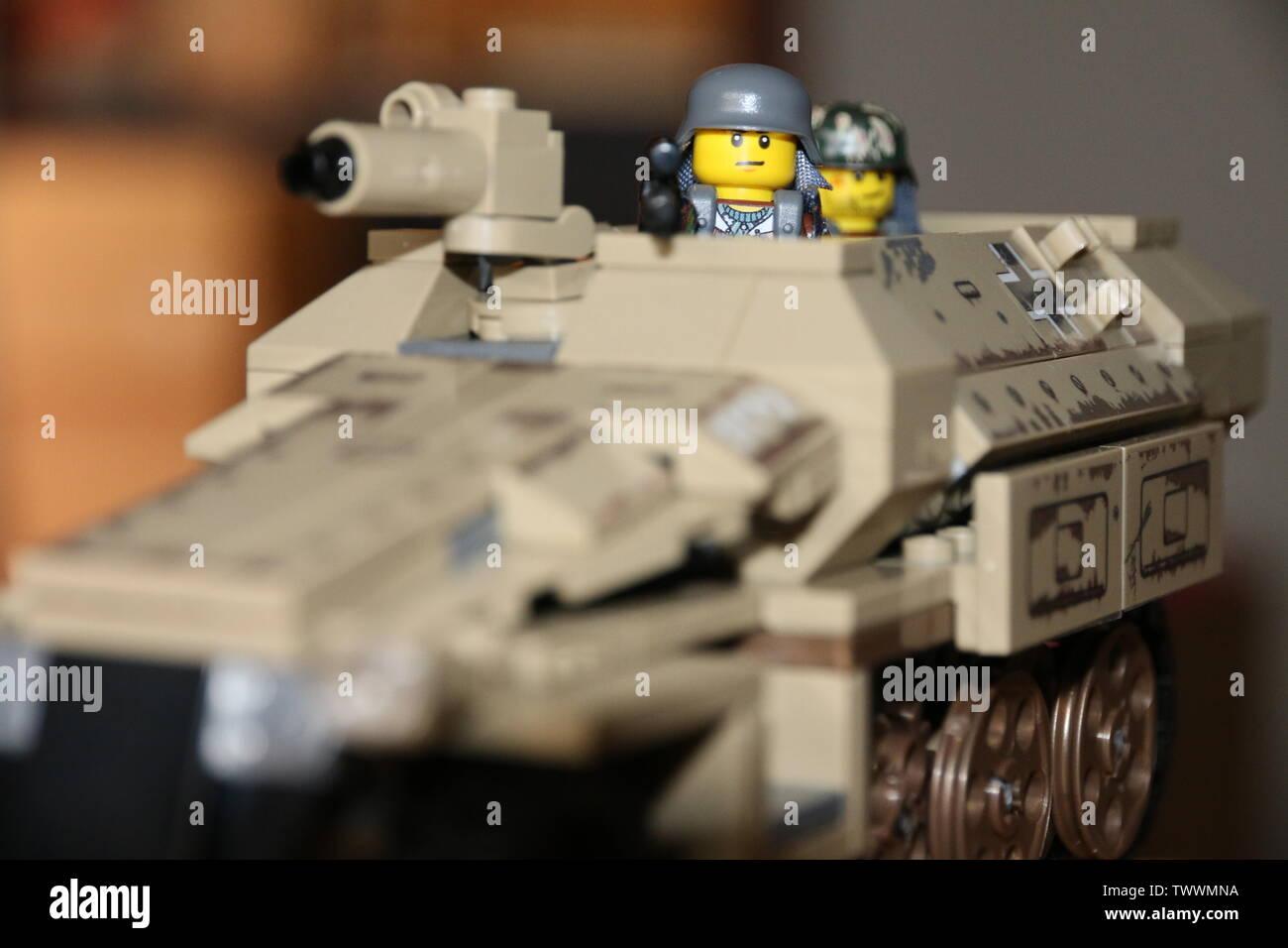 LEGO custom MOC WWII German soldier on a Sd.Kfz 251 halftrack. - Stock Image