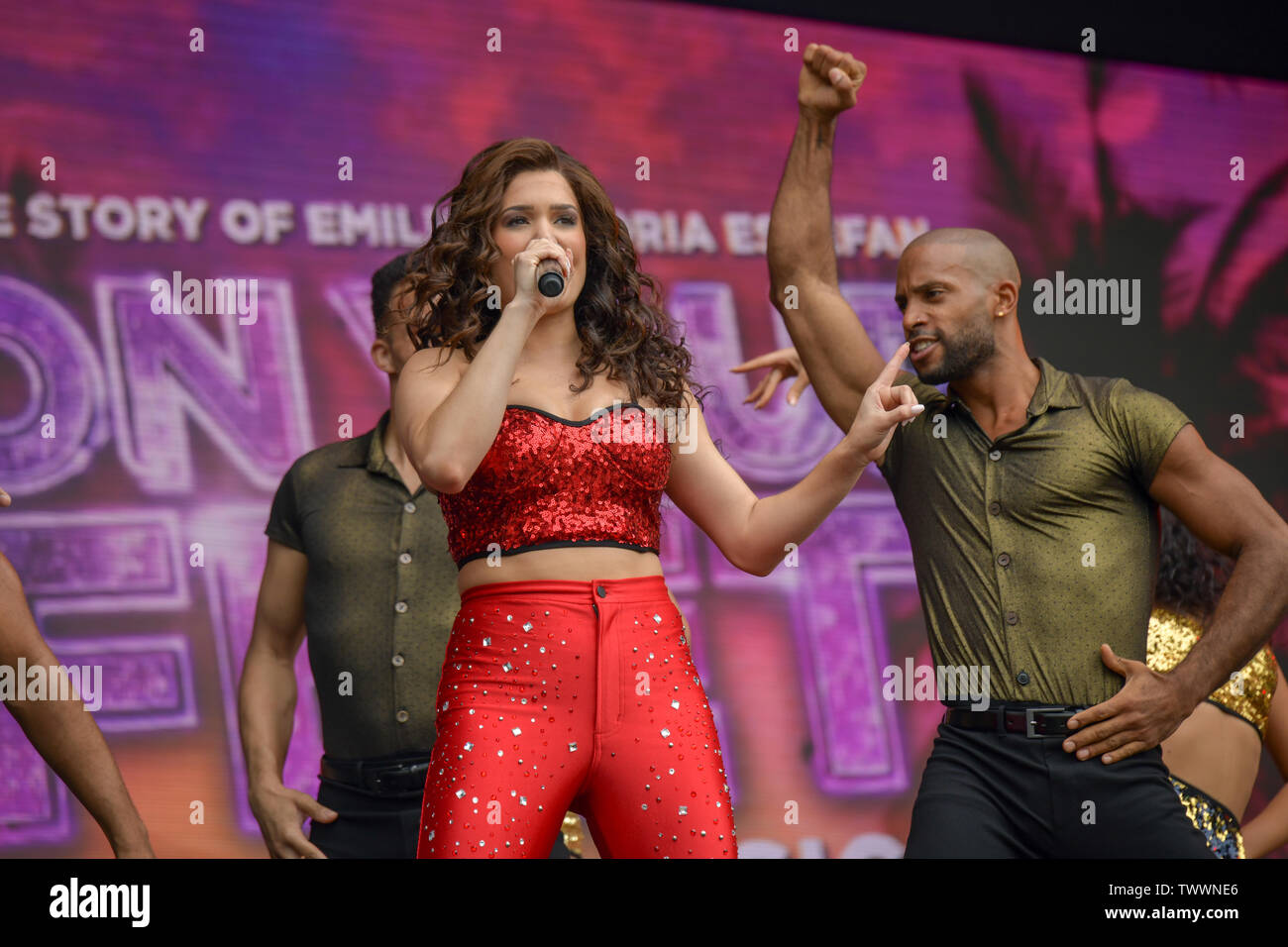 London, UK. 23rd June, 2019. On Your Feet!, by Alexander Dinelaris performs at West End Live 2019 - Day 2 in Trafalgar Square, on 23 June 2019, London, UK. Credit: Picture Capital/Alamy Live News - Stock Image