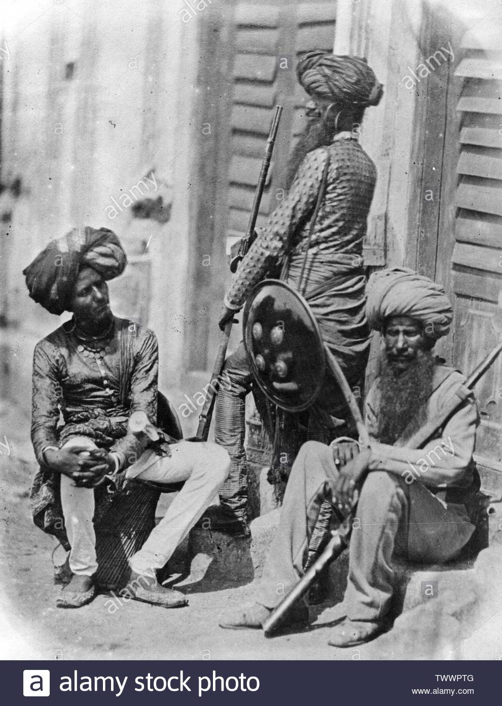 'English: Afghan Sikh Officers of Hodson's Horse, a cavalry regiment of the British Indian Army, during the Indian Rebellion, 1858. (Photo by Felice Beato/Getty Images); 1858; http://www.vintag.es/2013/05/life-in-india-in-19th-century.html; Felice Beato (1832–1909)      Alternative names  Felix Beato  Description Italian photographer, journalist, war photographer, photojournalist and architectural photographer  Date of birth/death  1832 (or perhaps as late as 1834) 29 January 1909 (or perhaps as early as 1907)  Location of birth/death  Venice, Austria-Hungary Florence, Italy  Work period 19 - Stock Image