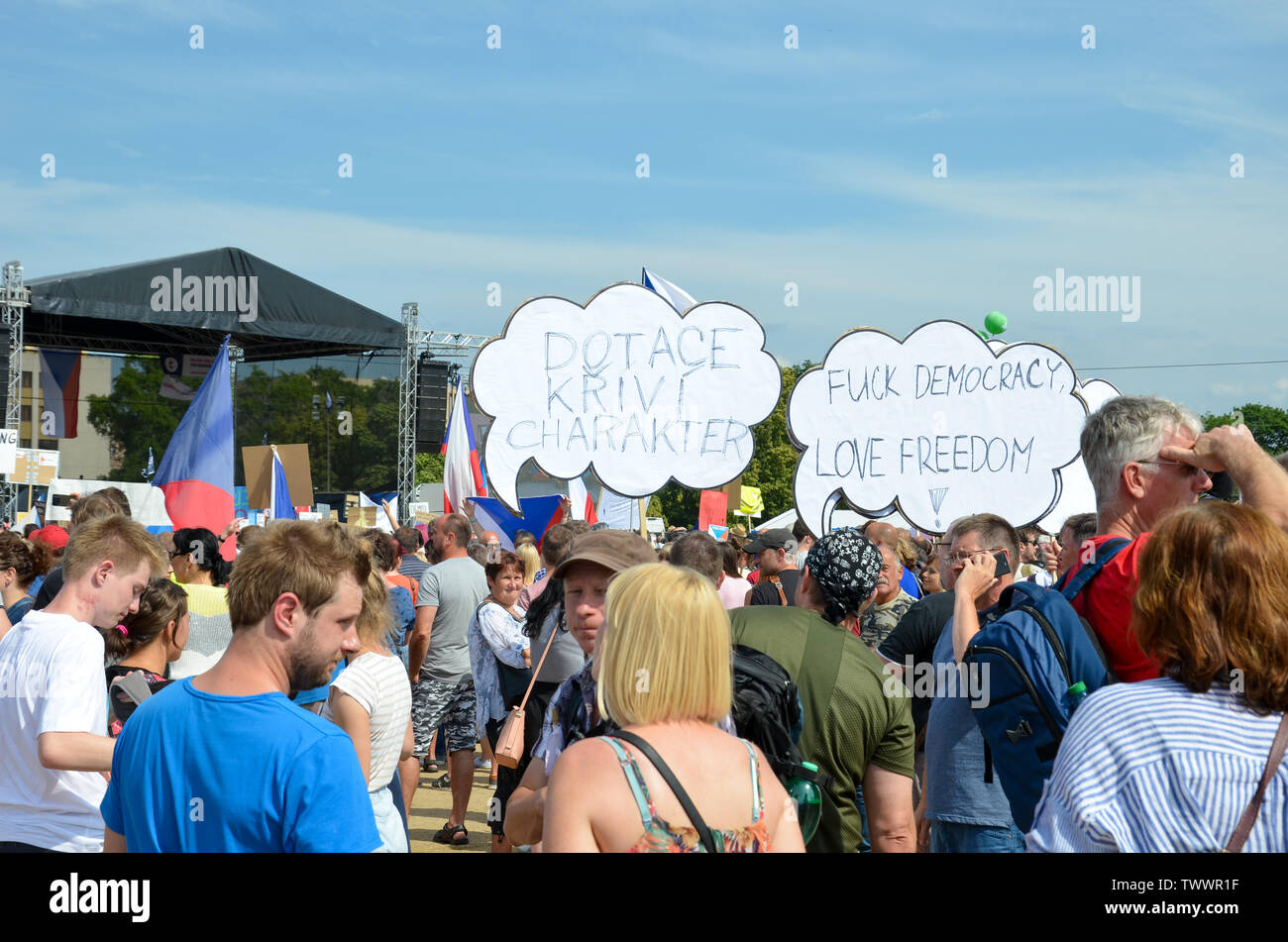 Prague, Czech Republic - June 23 2019: Crowd of people protests against Prime Minister Babis and Minister of Justice on Letna, Letenska plan. Demonstration calling for resignation. Democracy, protest. - Stock Image