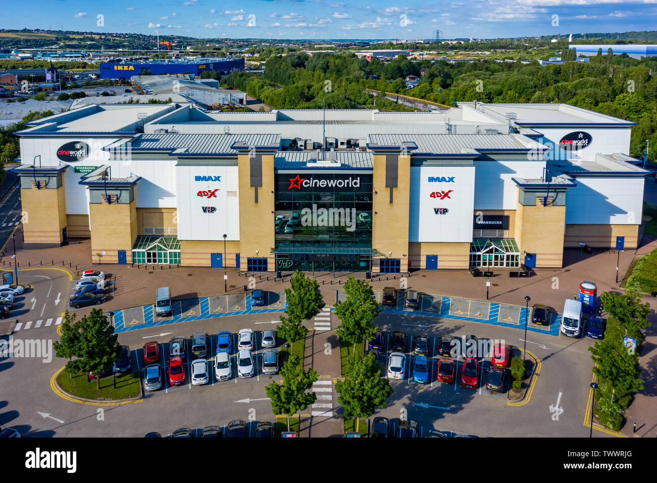 SHEFFIELD, UK - 20TH JUNE 2019: Aerial shot of the Cineworld at Centertainment in Sheffield, Yorkshire, UK - Stock Image