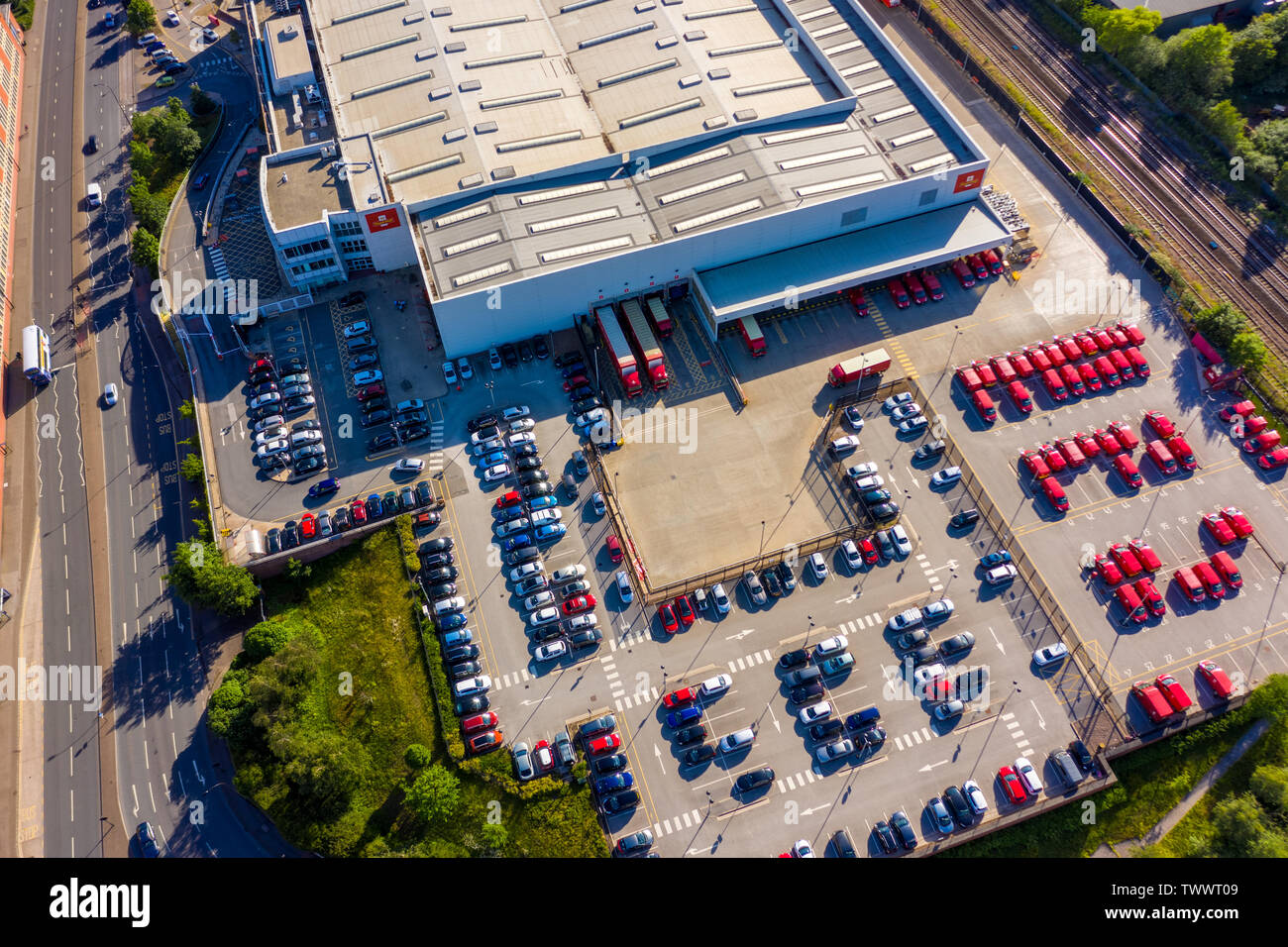 SHEFFIELD, UK - 20TH JUNE 2019: Aerial shot of the Royal Mail postal delivery depot in Sheffield City, South YOrkshire, UK - Stock Image