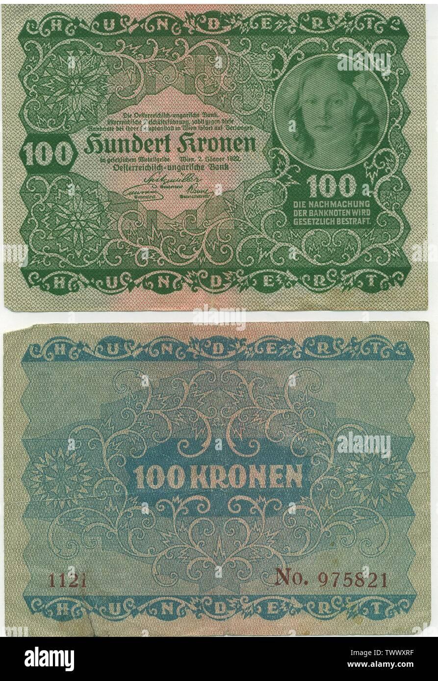 Austrian banknote 100 Kronen (1922) Österreichische Banknote von 1922 über 100 Kronen. - nicht mehr in Ungarn verwendbar.; 2 January 1922; Self-scanned; Österreichisch-Ungarischen Bank, österreichische Geschäftsführung; Stock Photo
