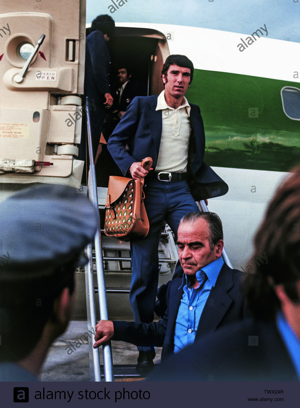 'Italy, end of June 1974. The goalkeeper Dino Zoff and the rest of the Italian national football team arrive back in Italy after their early elimination at the 1st round from the 1974 FIFA World Cup in West Germany.; late June 1974 date QS:P,+1974-06-00T00:00:00Z/10,P4241,Q40719766; Jeff Livingstone (November 29, 2014). The Age of Innocence: Football in the 1970s (in english). inbedwithmaradona.com., cf. Reuel Golden , ed. (in english) (2014)  The Age of Innocence: Football in the 1970s, Köln, Germany:  TASCHEN GmbH  ISBN:  978-3836547970.; Mondadori Collection / Getty Images; ' - Stock Image