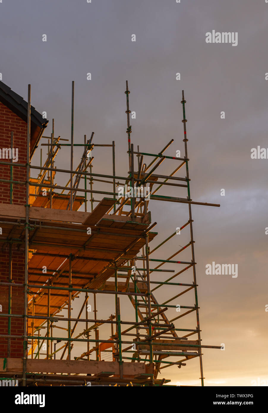 Scaffolding against the side of a newly built house against a golden sunset - Stock Image